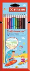 Stabilo - Stabilo Aquacolor Sulandırılabilir Kuru Boya Kalemi 12'li