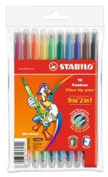 Stabilo - Stabilo Trio 2in1 Çift Uçlu Keçeli Kalem 10'lu Paket