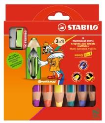 Stabilo - Stabilo Woody 3 in 1 6 Renk + Kalemtraş