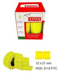 Tanex - Tanex Motex Fiyat Etiketi Çizgili Fosforlu Sarı 12 mm x 21 mm 24'lü