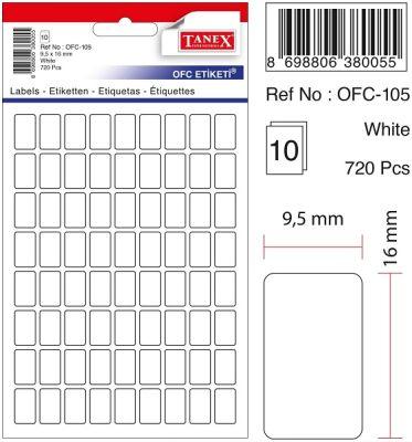 Tanex Ofis Etiketi 9.5x16mm Beyaz