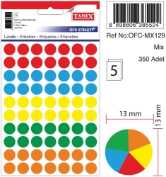 Tanex - Tanex Yuvarlak Ofis Etiketi 13mm Karışık Renkli