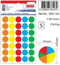 Tanex - Tanex Yuvarlak Ofis Etiketi 19mm Karışık Renkli