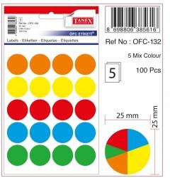 Tanex - Tanex Yuvarlak Ofis Etiketi 25mm Karışık Renkli