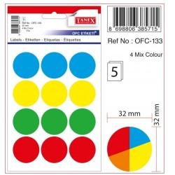 Tanex - Tanex Yuvarlak Ofis Etiketi 32mm Karışık Renkli