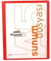 Umix - Umix Önden Cepli Sunum Dosyası A5 10'lu Kırmızı
