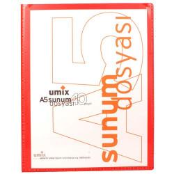 Umix - Umix Önden Cepli Sunum Dosyası A5 40'lı Kırmızı