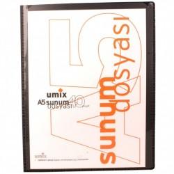 Umix - Umix Önden Cepli Sunum Dosyası A5 40'lı Siyah