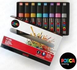 Uni-Ball - Uni Posca PC-8K Renkli Poster Markörü (0.8 mm) Metalik Renkler 8'li Set