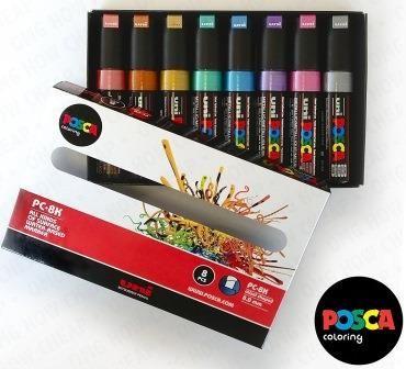 Uni Posca PC-8K Renkli Poster Markörü (0.8 mm) Metalik Renkler 8'li Set